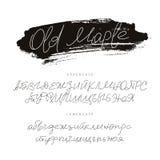 Modieuze doopvont Alfabet Kalligrafie en het van letters voorzien Stock Afbeeldingen