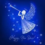 Modieuze engel met siervleugels en trompet stock illustratie