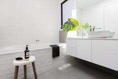 Modieuze familiebadkamers van wit Skandinavisch thema stock fotografie