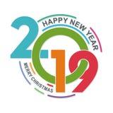 Modieuze gelukkige nieuwe jaar 2019 tekst - aantalontwerp stock foto's