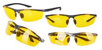 Modieuze glazen met gele lenzen stock foto's