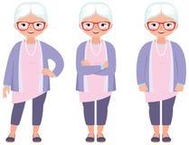 Modieuze grijze haired rijpe vrouw met glazen in volledige lengte vector illustratie