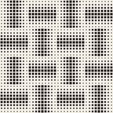 Modieuze halftone textuur Eindeloze abstracte achtergrond met willekeurige groottevormen Vector Naadloos Mozaïekpatroon Stock Foto
