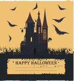 Modieuze Halloween-kaart met heksenkasteel, vliegende knuppels Stock Afbeelding