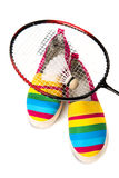 Modieuze, heldere, gemakkelijke sportenschoenen (gymschoenen) met een racket Royalty-vrije Stock Foto's