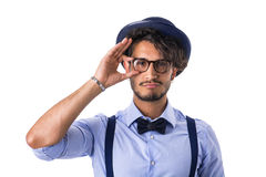 Modieuze hipster met glazen, hoed en vlinderdas Royalty-vrije Stock Fotografie
