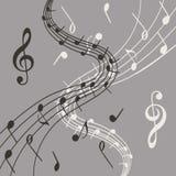 Modieuze illustratie van muzieknota's over grijze achtergrond voor slogan, affiche, vlieger of enz. Stock Foto