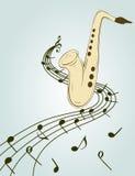 Modieuze illustratie van saxofoon Stock Afbeelding
