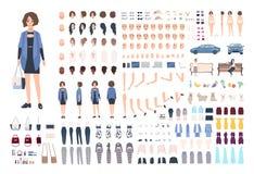 Modieuze jonge vrouw DIY of animatieuitrusting Inzameling van meisjes` s lichaamsdelen, gebaren, emoties, modieuze kleren stock illustratie
