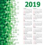 Modieuze kalender met de Abstracte achtergrond van het driehoeksmozaïek voor 2019 royalty-vrije illustratie