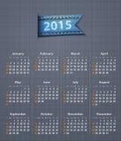 Modieuze kalender voor 2015 op linnentextuur Stock Afbeeldingen