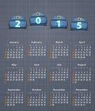 Modieuze kalender voor 2015 op linnentextuur met jeansmarkeringen Royalty-vrije Stock Foto's