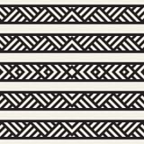 Modieuze Lijnen Maze Lattice Etnische Zwart-wit Textuur Abstracte geometrisch Vector Naadloze Zwart-wit Royalty-vrije Stock Foto's