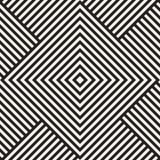 Modieuze Lijnen Maze Lattice Etnische Zwart-wit Textuur Abstracte geometrisch Vector Naadloze Zwart-wit Royalty-vrije Stock Afbeeldingen
