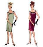 Modieuze manier gekleed meisje (de stijl van jaren '50jaren '60 Stock Fotografie
