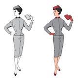 Modieuze manier gekleed meisje (de stijl van jaren '50jaren '60 Royalty-vrije Stock Foto's