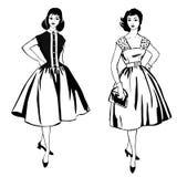 Modieuze manier gekleed meisje (de stijl van jaren '50jaren '60 vector illustratie