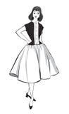 Modieuze manier gekleed meisje (de stijl van jaren '50jaren '60 Stock Foto