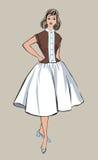 Modieuze manier gekleed meisje (de stijl van jaren '50jaren '60 Stock Afbeelding