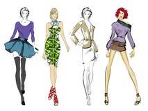 Modieuze mannequins Vrij jonge meisjes royalty-vrije illustratie