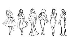 Modieuze meisjes royalty-vrije illustratie