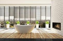 Modieuze minimalistische badkamers met ingemaakte installaties royalty-vrije illustratie