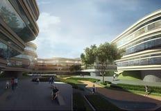 Modieuze moderne gebouwen Stock Afbeelding