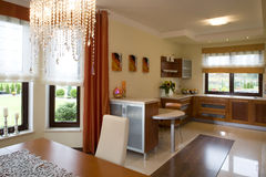 Modieuze moderne keuken Stock Foto's