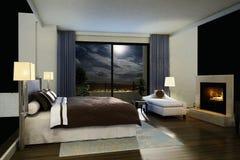 Modieuze moderne slaapkamer Stock Afbeeldingen