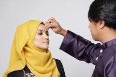 Modieuze muslimahvrouw Stock Foto's