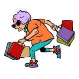 Modieuze oude dame met het winkelen stock illustratie