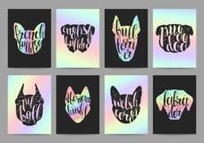 Modieuze retro hipster vastgestelde malplaatjes met hondrassen, kalligrafiehologram Stock Fotografie