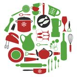 Modieuze ronde keukensamenstelling Stock Afbeeldingen
