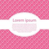 Modieuze roze liefdekaart met witte harten en ovaal tekstkader Stock Afbeelding