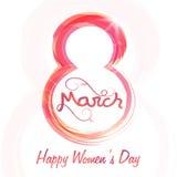 Modieuze tekst 8 Maart voor de Dag van Vrouwen Royalty-vrije Stock Fotografie