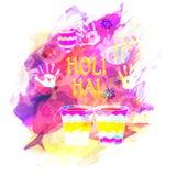 Modieuze tekst met emmers voor Holi-Festivalviering Stock Afbeeldingen