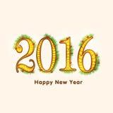 Modieuze tekst voor Gelukkig Nieuwjaar 2016 Stock Foto