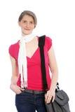 Modieuze toevallige vrouw met slingerzak Royalty-vrije Stock Afbeeldingen
