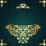 Modieuze uitnodiging met gouden decoratie Royalty-vrije Stock Afbeeldingen