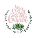 Modieuze vector van letters voorziende kaart met tekst - Mijn geheime tuin Stock Foto