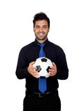 Modieuze voetballer met een bal Stock Afbeelding