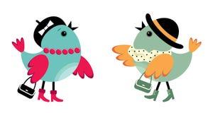 Modieuze vogeltjes Royalty-vrije Stock Afbeeldingen