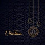 Modieuze vrolijke Kerstmis donkere achtergrond met bomen stock illustratie