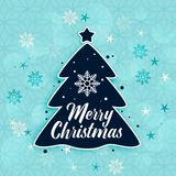 Modieuze vrolijke Kerstmisboom en sneeuwvlokkenachtergrond royalty-vrije illustratie