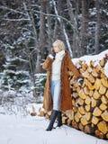 Modieuze vrouw en de winterkleren - landelijke scène Stock Fotografie