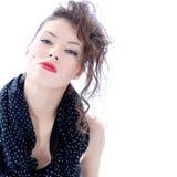 Modieuze vrouw met creatief kapsel Stock Foto's