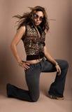 Modieuze Vrouw met Zonnebril Stock Fotografie