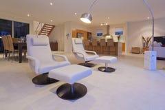 Modieuze woonkamer en keuken stock fotografie