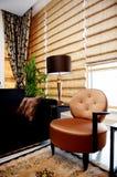 Modieuze woonkamer met trendy meubilair Royalty-vrije Stock Afbeeldingen