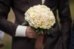 Modieuze zekere mooie jonge bruidegom Royalty-vrije Stock Fotografie